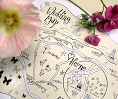 Beautiful hand drawn maps from wedding invitations to tourist walks and fantasy realms.