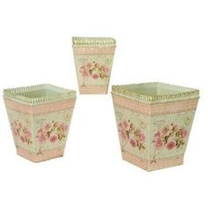 Dolce Mela French Country Planters Square Vintage Painted Metal Decorative Vases & Flower Pots