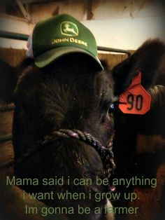 Mama said I could be anything I want when I grow up. I'm gonna be a dairy farmer.
