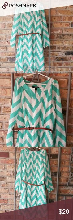 My Michelle dress Mint green and white Chevron print dress. High/low hemline. Brown belt around waist with belt loops. Sheer long sleeves with elastic hems. Gently used. My Michelle Dresses Casual