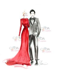 #CFDASwarovski Award Presenters Greta Gerwig and Sebastian Stan sketched by @Katie Rodgers | Paper Fashion  #CFDAAwards