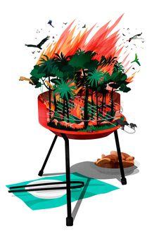 BENEDETTO CRISTOFANI ILLUSTRATION: SINFUL GRILLING #illustration #editorialillustration #editorial #artnews #environment #summer #barbecue #environment