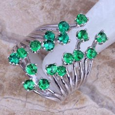 New Hot Sell ! Green Emerald 925 Sterling Silver Ring For Women Size 5 / 6 / 7 / 8 / 9 / 10 / 11 / 12 Free Gift Bag S0222  #jewelrysets #weddingjewelry #jewelry #designerdivajewelry #jewellery