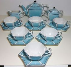 1918 Noritake Morimura China Blue Teapot Sugar Creamer 6 Cup Saucer Set Hexagon