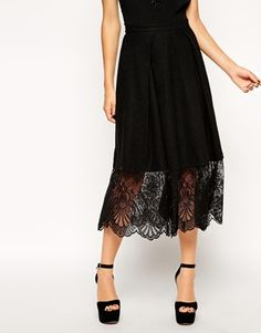 """ASOS Midi Skirt In Texture With Lace Hem £55.00  Midi skirt by ASOS Collection Made from a soft-touch textured tweed Flattering high-rise waistband Pleating throughout Scalloped lace hem Zip back fastening to reverse Regular fit - true to size  Hand wash Body: 33% Polyester, 31% Cotton, 20% Acrylic, 16% Viscose, Body Lining: 100% Polyester Our model wears a UK 8/EU 36/US 4 and is 173cm/5'8"""" tall"""