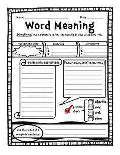FREE Graphic Organizer: Personal Student Dictionary Word Meaning - 1 page graphic organizer. This sheet can be used for each vocabulary word in the student's personal dictionary. Teaching Vocabulary, Teaching Language Arts, Vocabulary Words, Teaching Reading, Teaching Resources, Vocabulary Instruction, Vocabulary Activities, Vocabulary Strategies, Work Activities