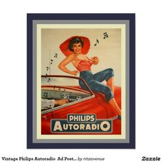 RED CAR Automobile Philips Autoradio Girl Music Radio Pin-up Girl Model X Image Size Vintage Poster Reproduction Pin Up Vintage, Pub Vintage, Vintage Labels, Vintage Metal, French Vintage, 1950s Advertising, Vintage Advertising Posters, Old Advertisements, Old Poster