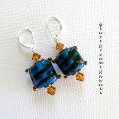 Dark Aqua Dangle Earrings, Handmade Lampwork Beads, Artisan Jewelry,... (125 ILS) ❤ liked on Polyvore featuring jewelry, earrings, beads jewellery, dangle earrings, sterling silver bead earrings, aqua earrings and topaz earrings