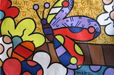 romero britto para colorear - Buscar con Google Baby Painting, Painting For Kids, Painting & Drawing, Art For Kids, Projects For Kids, Art Projects, Graffiti Painting, Stained Glass Patterns, Stone Art