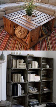 Moveis com caixas de madeira sao uma ótima maneira de reciclar e decorar