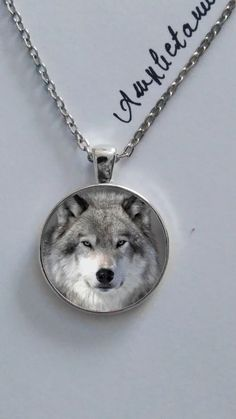Amphetamine necklaces - Beautiful grey vintage black and white wolf wolves…