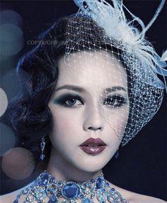 Fascinator White Feather Mesh Hair Clip Wedding/Party Bridal Face Veil D2006