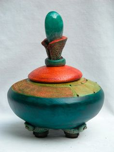 Vicki Grant, Artist, Small Vessel 25, high fired porcelain, hand thrown, carved and colored