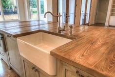 Decoration Kitchen - This cypress kitchen island countertop is heavily wire brushed to create a raise. Kitchen Redo, New Kitchen, Kitchen Design, Kitchen Island, Kitchen Storage, Kitchen Cabinets, Fixer Upper, Interior Design Examples, Interior Modern