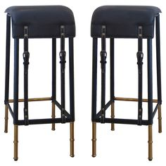 Pair of Black Stitched Leather Bar Stools by Jacques Adnet. | From a unique collection of antique and modern stools at https://www.1stdibs.com/furniture/seating/stools/