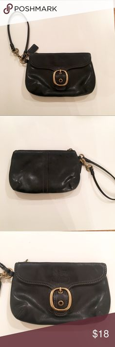 Coach Wristlet Gently used black Coach Wristlet with gold accents. The zipper bar is missing but the inside and outside are in great condition. Coach Bags Clutches & Wristlets