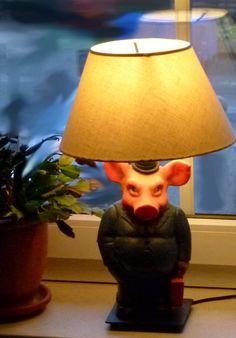 PopArt- 2 Tischlampen - Unikate, Schweine als Bänker von CaroCreare auf Etsy