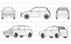 Wireframe design of small modern car. Front, side, back and axonometric views. Vector illustration of isolated objects over blue background.