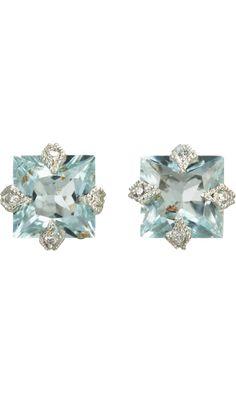 Cathy Waterman Diamond & Aquamarine Stud Earrings
