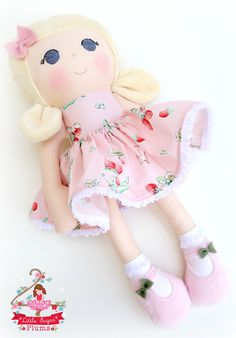 Handmade dress-up doll by Little Sugar Plums. Dress Up Dolls, Riley Blake, Handmade Dresses, Strawberries And Cream, Doll Stuff, Fabric Dolls, Boudoir, Doll Clothes, Temple