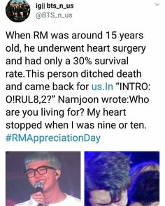 I had to google this to check its authenticity. Allkpop showed the translation of the message. An international fan retrieved the message from cache after it was deleted. The person described was a 15 year old rapper named Kim Namjoon, with a high IQ. Sounds like RM to me... The sources are not confirmed, so this may not be true.