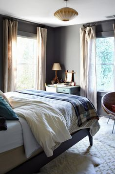Comfy bedroom - love the calming grey
