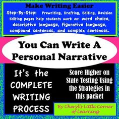 This packet is a personal narrative writing unit.  If you are looking for a way to scaffold the writing process, then this is the unit for you!  This packet contains colorful slides and reproducible worksheets that take students through the writing process.
