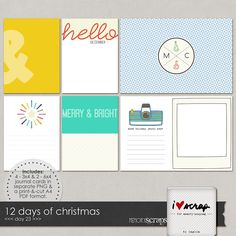 FREE 12 Days of Christmas Journal Cards From Mscraps [ limited time ]