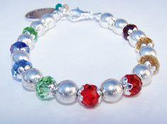 ♥※ Swarovski #Mothers #Birthstone Beaded Bracelet with Handstamped Charm by... Order http://etsy.me/2xyQ2eU