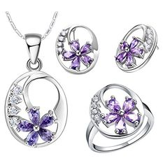 Beydodo White Gold Plated Women Jewelry Set Necklace Earring Ring Set Flower Purple Crystal Size 9 * Check this awesome product by going to the link at the image.