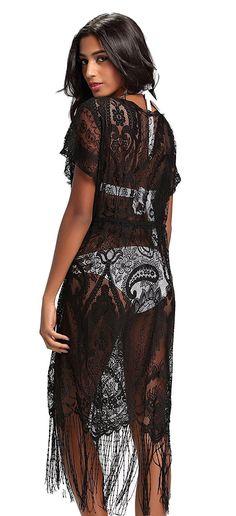 5bc4743135f40 Summer Womens Beach Wear Cover up Swimwear Bikini Lace Floral Long Maxi  Beach Dress - Black1 - CR17YR2KMH7