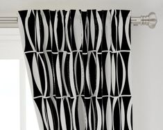 Mid-century Curtain Panel - Black White Leaf by wren_leyland - Minimal Black And White Contrast Custom Curtain Panel by Spoonflower White Leaf, Black And White, Tropical Curtains, Custom Curtains, Panel Curtains, Surface Design, Print Design, Organic Cotton, Dress Up