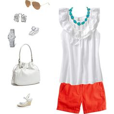 I have a version of this summer outfit,bright bottoms you can't go wrong for summer :)