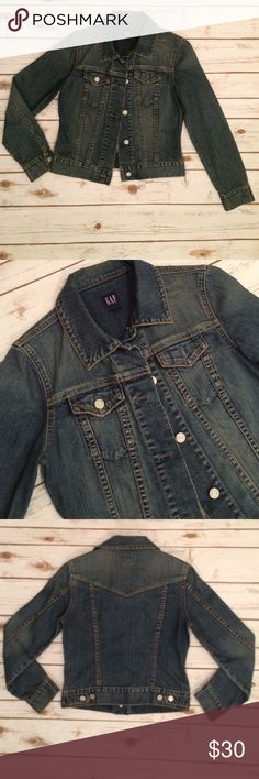 Gap Semi-Fitted Denim Jacket NWOT. This semi-fitted Gap Jean jacket has never been worn! It has a very cute fit, is slightly stretchable, and the waist can be adjusted in the back. Made of 98% cotton/2% lycra. GAP Jackets & Coats Jean Jackets