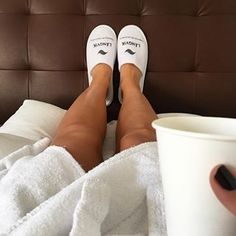 Kun voit nautiskella aamun kolmannesta kahvikupillisesta hotellin sängyssä väärinpäin loikoillen, valtavaan kylpytakkiin kääriytyneenä, hitaasti viivytellen. #långvik #hidastelu Slippers, Instagram, Slipper, Flip Flops, Sandal