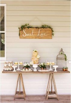Rustic dessert table at a wedding party! See more party planning ideas at Catch. Wedding Signs, Wedding Table, Rustic Wedding, Party Wedding, Wedding Backyard, Trendy Wedding, Wedding Simple, Fall Wedding, Wedding Blog