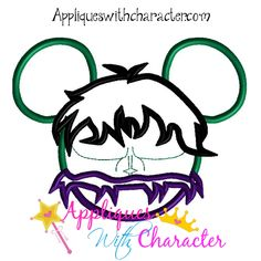 Hulk Super Hero Mickey Head Applique Embroidery Machine Design 4 Hoop sizes Instant Download by appliqueswcharacter on Etsy