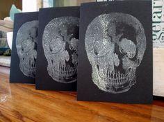 3 GHOSTLY SKULLS Print Gocco Cards