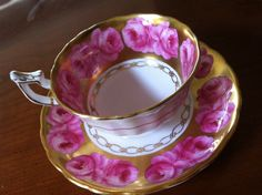 Royal Chelsea Tea Cup Saucer Pink Roses with Lots of Gold Gilt | eBay
