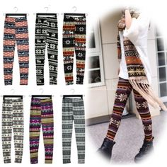 Women New Fashion Snowflake Reindeer Knitted Warm Leggings Tights Pants 17Types