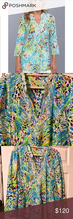 🆕LISTING! Lilly Pulitzer Sarasota Beaded Tunic Never worn. Tags removed. Every bead in tact. Gorgeous vibrant colors. Perfect combo or elegant and classy. Purchased and lost weight so it's too big. My loss your gain!  Paid $148 Lilly Pulitzer Tops Tunics