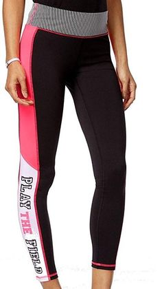 aee5736875b882 Shoppers Galore · Products · Material Girl Juniors Colorblocked Graphic  Play the Field Yoga Pants M