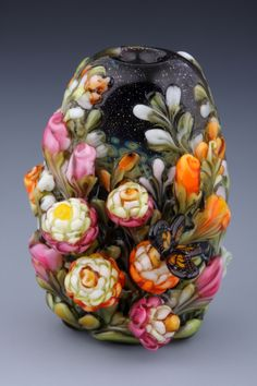 Dolly Ahles lampworked Summer Fields bead