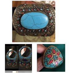 NWOT Afghan tribal handmade jewelry 3 items lot Brand new hand cuff with turquoise stone, earrings and adjustable size ring all handmade Afghan tribal jewelry. Jewelry Earrings