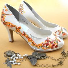 Wedding Shoes painted Delphinium on peep toes not by norakaren, $250.00-not these but her custom shoes are to dye for.
