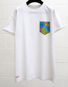 Men's World Map Pattern White Pocket T-Shirt