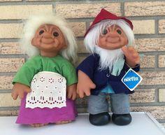 """Norfin Troll Doll - Grandma and Grandpa, 14"""" 1977 #Norfin"""