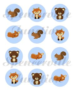Forest Friends Woodland Creatures Baby Shower Invitation DIY Printable add candy bar wrappers, thank you notes, circles, and treat boxes. $10.00, via Etsy.