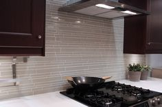 Off white long subway patterned glass tile