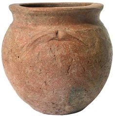 A Saxon redware pottery urn of early globular form, everted flaring neck with broad flat rim, decorated with three raised arches, each with central groove, Frisian-Angle derivation, Southern type, 5th-6th century A.D., 6.25in high, 6.5in diameter. Viking Age Art, Germanic Tribes, Anglo Saxon, Medieval Art, Urn, Fantasy Characters, Cutlery, Archaeology, Vikings